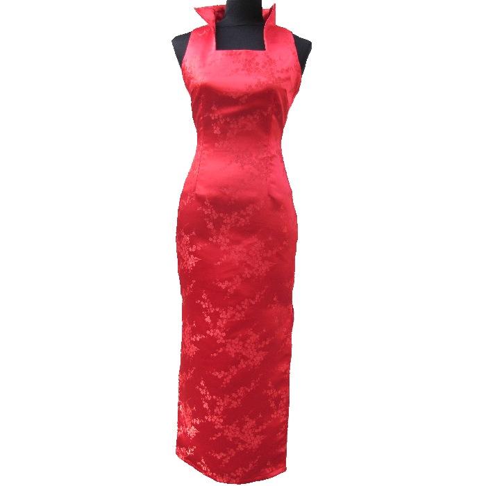 cóctel de largo Vestido de rojo patrón chino 80wnOPkX