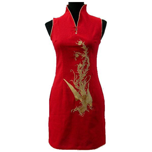 tunique chinoise motif phenix. Black Bedroom Furniture Sets. Home Design Ideas