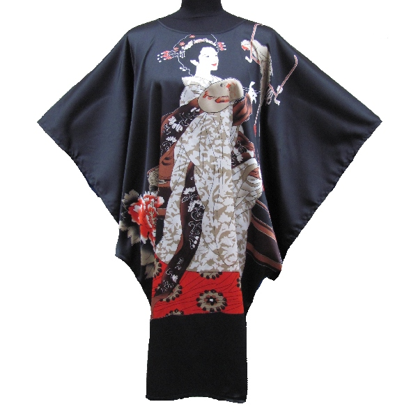 kimono robe grand taille motif femme japonais. Black Bedroom Furniture Sets. Home Design Ideas