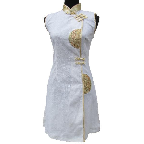 Robe blanche lin femme