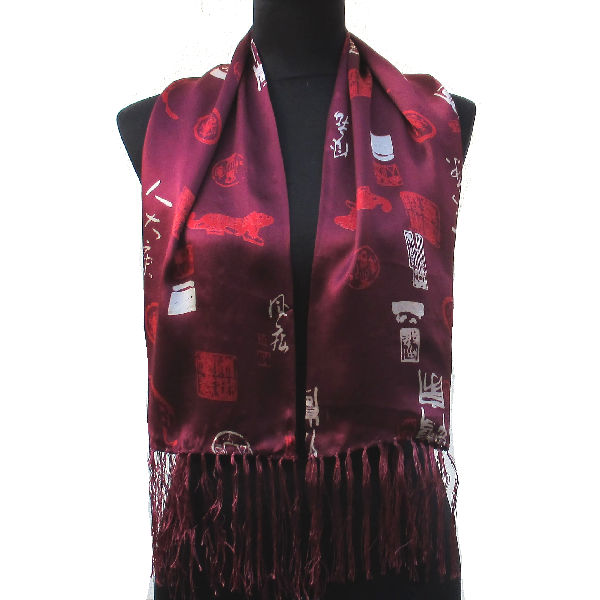 Foulard Soie Rouge Bordeaux 69c696640ea