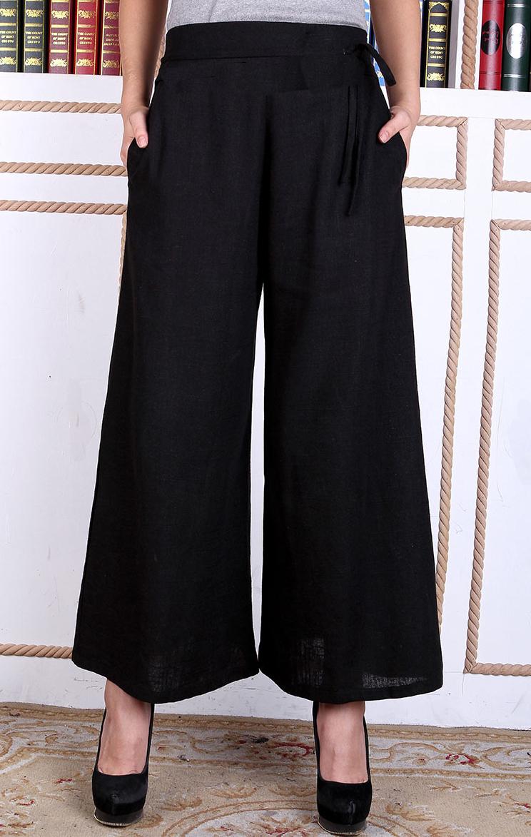 pantalon chinois lin noir pour femme. Black Bedroom Furniture Sets. Home Design Ideas
