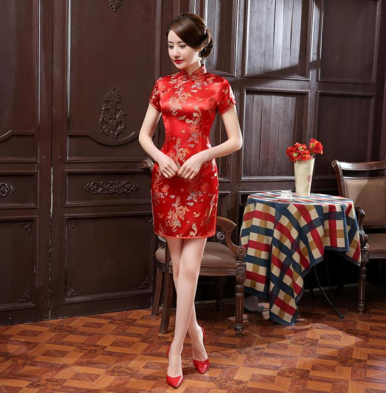 cf789a87fb0 Robe Chinoise Courte Soie Dragon Phenix Rouge Traditionelle