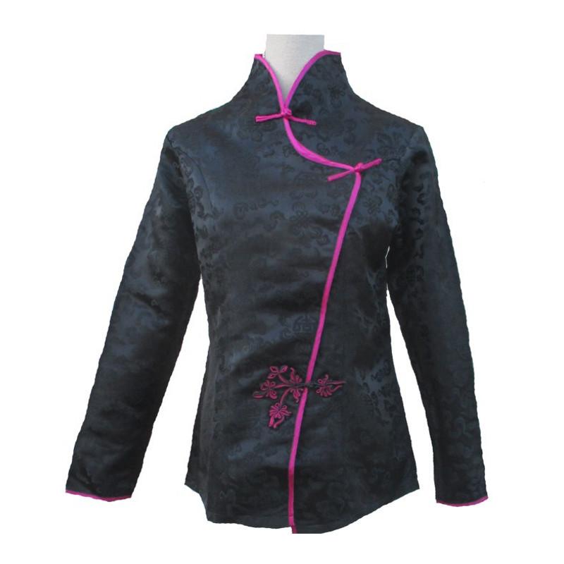 veste chinoise femme col mao noire. Black Bedroom Furniture Sets. Home Design Ideas