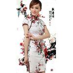 Robe Chinoise Courte Coton Fleur Cerisier
