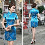 Robe Chinoise Courte Fendu Bleue Motif Bonheur