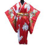 Kimono Japanois Geisha Rouge Manche Longue Tokyo