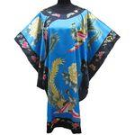 Kimono Robe Turquoise Motif Bonheur