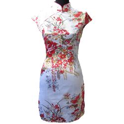Robe Chinoise Courte Blanche Fleur Rouge