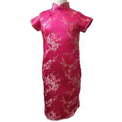 Robe Chinoise Fille Fushia Fleur