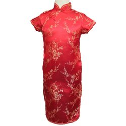Robe Chinoise Fille Rouge Fleur Dore