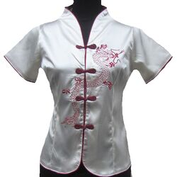Chemisier Chinois Traditionnel Femme Ecru