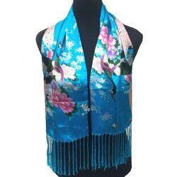 Echarpe Foulard Soie Bleu Unique
