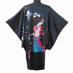 Kimono Robe Court Noir Motif Chinois