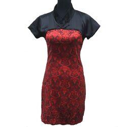 Mini Robe Chinoise Noir Rouge