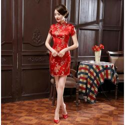 Robe Chinoise Courte Soie Dragon Phenix Rouge Traditionelle