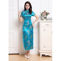 Robe Chinoise Longue Turquoise