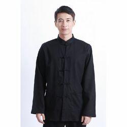 Veste Chinoise Homme Lin Noire