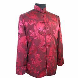 Veste Chinoise Homme Rouge Bordeaux