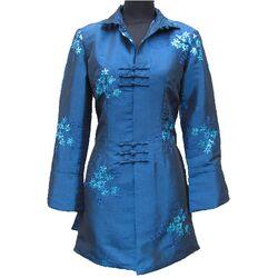 Veste Chinoise Pour Femme Soie Bleue Manche Longue