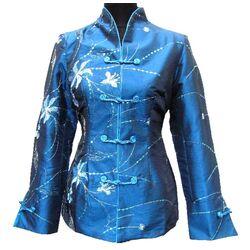 Veste Chinoise Pour Femme Soie Bleue Motif
