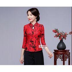 Chemisier Chinois Rouge Bonheur