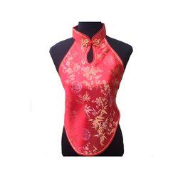 Dos nu Chinois Rouge Fleur Motif