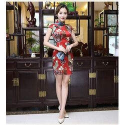 Robe Chinoise Tunique Rouge