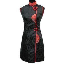 Robe de Soirée Chinoise en Soie Noire Sexy Col Mao