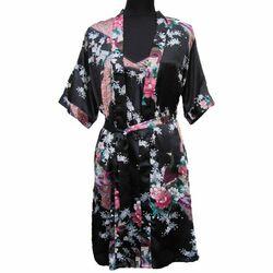 Kimono Japonais Court Motif Noir