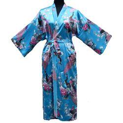 Kimono Longue Bleu Motif