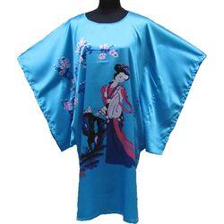 Kimono Robe Courte Bleu Fleur