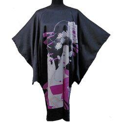 Kimono Robe Courte Noir Ete