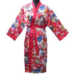 Kimonos Japonais Rouge Bonheur Femme