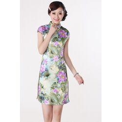 Robe Chinoise Courte Lotus Fleur