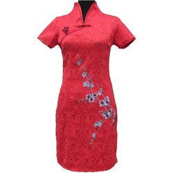 Robe Chinoise Courte Rouge Motif Fleur Bonheur