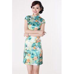 Robe Chinoise Motif Grand Fleur Bonheur