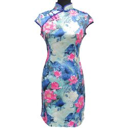 Robe Chinoise Motif Lotus Bonheur Boutique