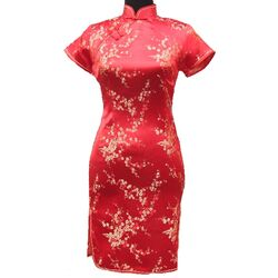 Robe Chinoise Rouge Fleur Bonheur