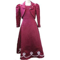 Robe Enfant Rouge Bordeaux Manche Longue