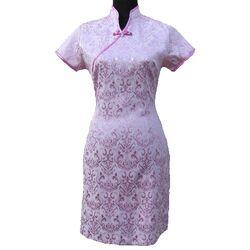 Robe Hotesse Chinoise Rose