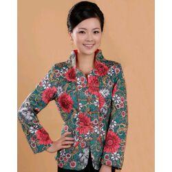 Veste Chinoise Bleue Motif Fleur