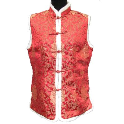 Gilet Chinois Femme Sans Maches Rouge