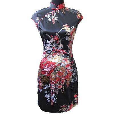 Robe Chinoise Noire Fleur Rouge Motif