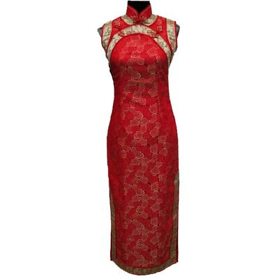 Robe  Chinoise en Soie Rouge Sans Manche Sexy