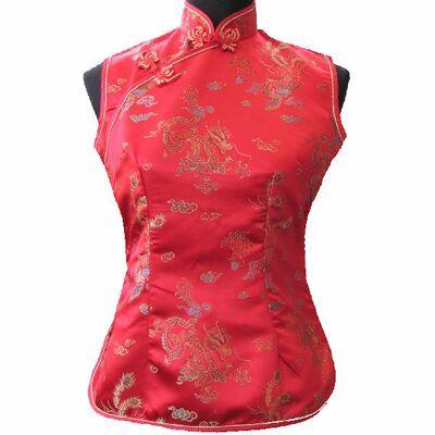Chemisier Chinois Femme Sans Manche Rouge Motif Dragon