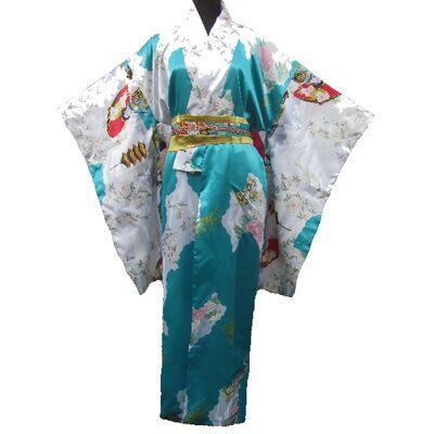 Kimono Japonais Femme Bleu Motif Danse