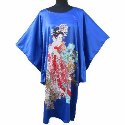 Kimono Robe Chinois Bleu