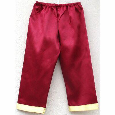 Pantalon Chinois Enfant Soie Rouge Bordeaux