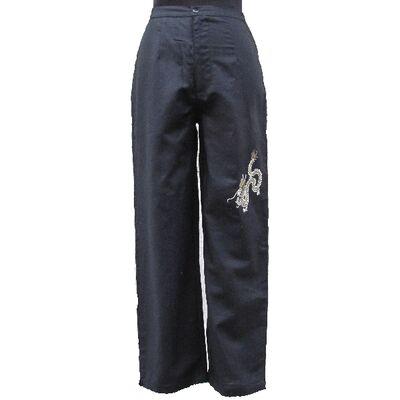 Pantalon Chinois Femme Lin Noir